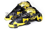 Мотозащита (колено, голень) 2шт SCOYCO K12-Y (пластик, PL, черный-желтый)