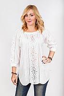 Белая женская рубашка с коротким рукавом