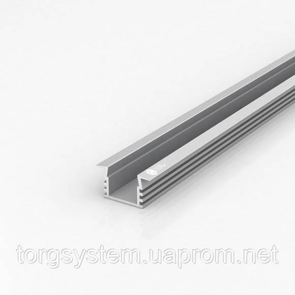 Алюминиевый профиль для светодиодной ленты (LED) врезной 207 анодированный