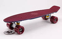 Скейтборд пластиковый Penny RUBBER SOFT TWIN FISH 22in двухцветная дека SK-410-5 (бордовый-т.синий)
