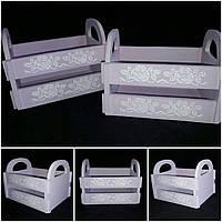 Деревянный окрашенный ящик в стиле Прованс, цвет - сиреневый, 20х15х16 см., 165/135 (цена за 1 шт. + 30 гр.)