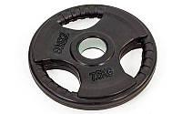 Блины (диски) обрезиненные с хватом с метал.втулкой отв. d-52мм TA-8122- 7,5 7,5кг (металл,рез,чер)