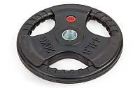 Блины (диски) обрезиненные с хватом с метал.втулкой отв. d-52мм TA-8122-20 20кг (металл, рез, чер)
