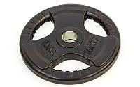 Блины (диски) обрезиненные с хватом с метал.втулкой отв. d-52мм TA-8122-10 10кг (металл, рез, чер)
