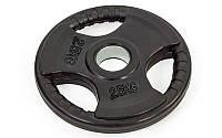 Блины (диски) обрезиненные с хватом с метал.втулкой отв. d-52мм TA-8122- 2,5 2,5кг (металл,рез,чер)