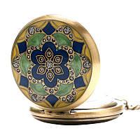 Часы на цепочке карманные, цветок с камнями
