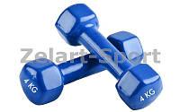 Гантели для фитнеса с виниловым покрытием Радуга (2x4кг) ТА-0001-4-B (2шт, синий)