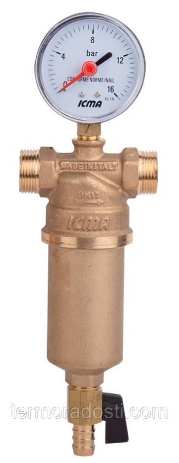 Самопромывной фильтр ICMA (1 1/4х1 1/2 резьба ВВ/НН) для воды