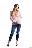 Стильный женский свитер хорошего качества, цвета пудры