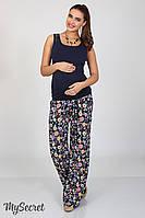 Трендовые брюки палаццо для беременных Mirada, из легкого штапеля, этно-цветы на темно-синем, фото 1