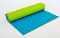 Коврик для фитнеса и йоги (Yoga mat) PVC 6мм двухслойный FI-5558-3 (1,73м x 0,61м x 6мм, салат-гол)
