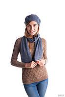 Модный женский шарф и берет джинсового цвета