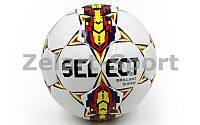 Мяч футбольный №5 PU ламин. ST BRILLANT SUPER ST-21 белый-фиолетовый-синий (№5, 5 сл., сшит вручную)