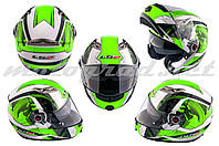 Шлем трансформер LS2 FF370 зелено-белый + солнцезащитные очки
