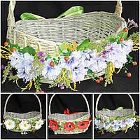 Декор пасхальный - лента-украшение с васильками на корзину, шир. 5 см., 120 гр.