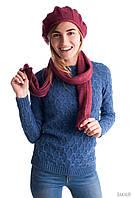 Стильный женский комплект из берета и шарфа фиолетового цвета