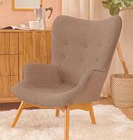 Дизайнерское кресло Флорино коричневое на деревянных ножках точная копия Featherston R160 Contour Chair