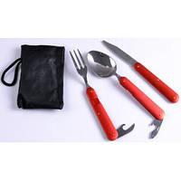 Туристический Набор 3В1 Ложка, Вилка, Нож №8003 (Красный)