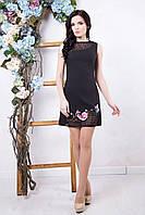 Короткое черное платье Флория ТМ Irena Richi 42-48 размеры