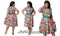 Летнее яркое женское платье тонкий стрейч креп-софт размеры 52,54,56,58