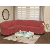 Чехол на угловой диван 3XXL  Супер большого размера  для больших и объёмных кожаных диванов (Турция) розовый
