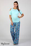 Трендовые брюки палаццо для беременных Mirada, из легкого штапеля, этно-цветы морская волна, фото 1