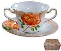 Набор Бульонницы 350 мл с блюдцем Китайская роза SNT 7170