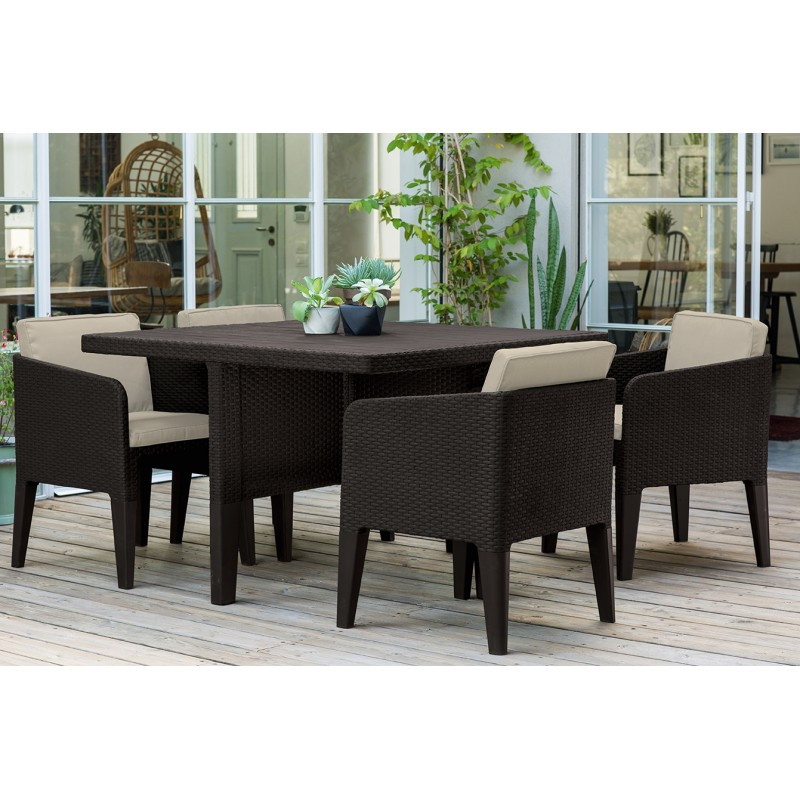 Allibert Columbia dining set Brown