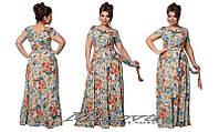 Длинное легкое нарядное платье креп-шифон в цветы  размеры 48, 50, 52, 54