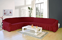 Чехол на угловой диван 3XXL  Супер большого размера  для больших и объёмных кожаных диванов (Турция) бордо
