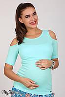 Трендовая футболка для беременных и кормящих Liama, ментоловая