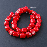 Бусины натуральный Коралл  красный галтовка шарик d-12-14мм L-40см нитка    №11