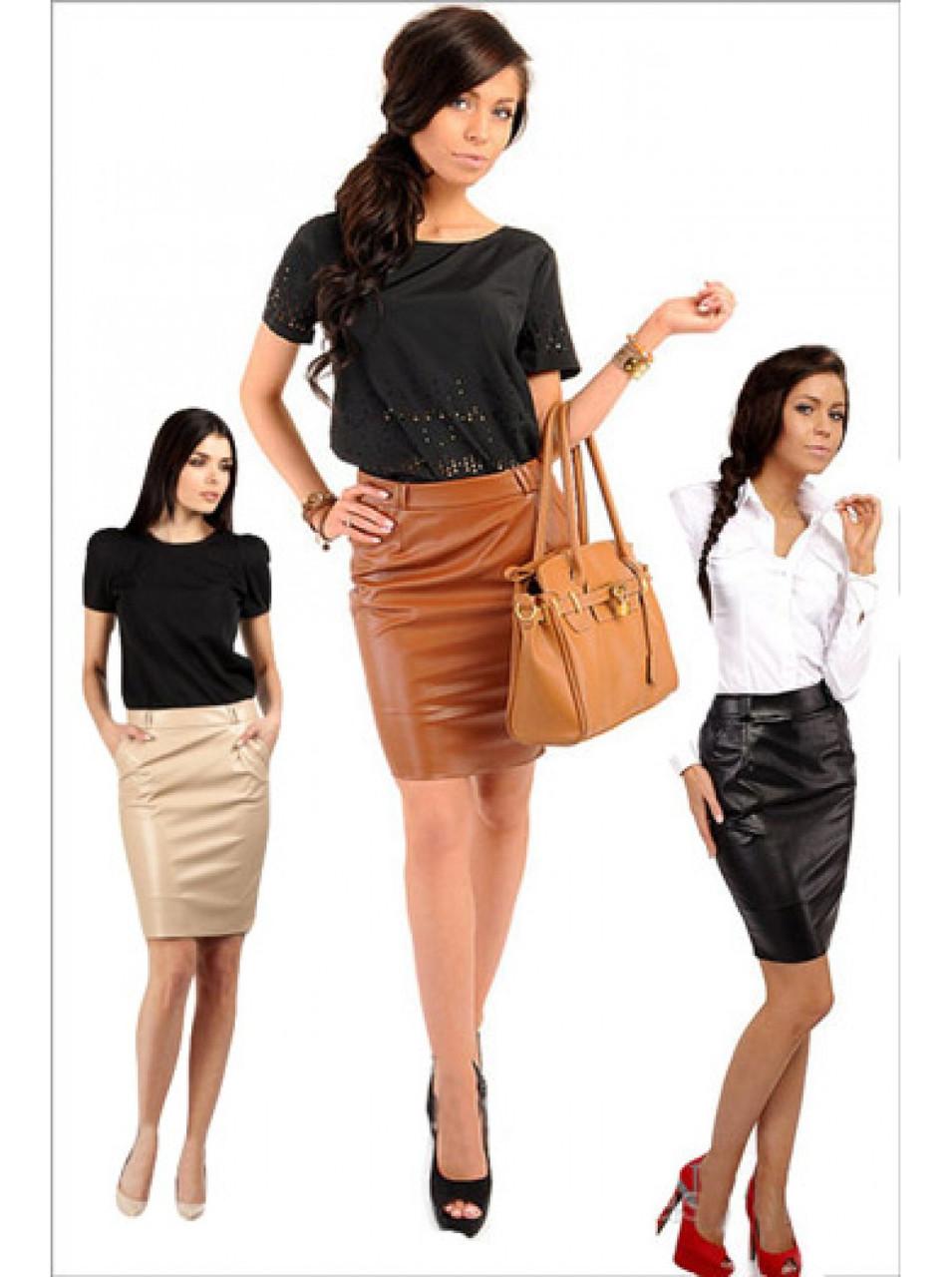 Офисная юбка из экокожи - 3 цвета