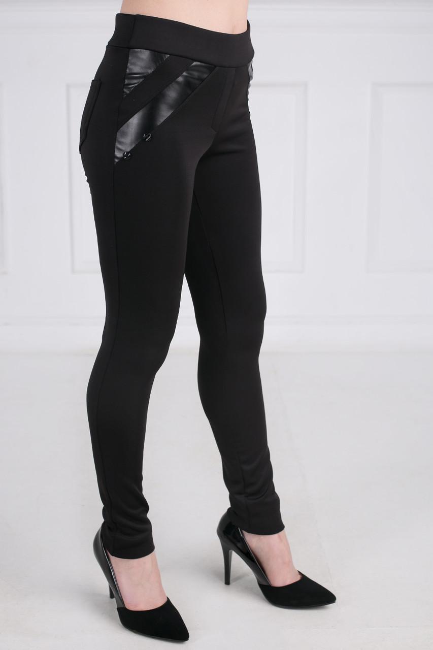 Модные женские лосины с вставками из эко- кожи черные