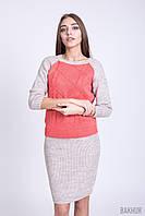 Красивый женский вязаный костюм из кофты и юбки-карандаш