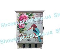 Винтажная ключница настенная Птичка деревянная , фото 1