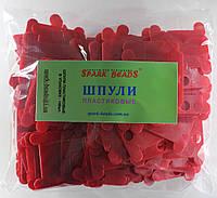 Шпули пластиковые (140 шт). Цвет - красный, фото 1
