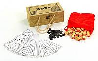 Настольная игра русское лото 9094 в футляре обтянутом мешковиной: 90 бочонков + 24 карточки