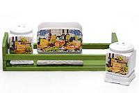 Набор спецовников Cheese&Wine, солонка, перечница и салфетница на деревянной подставке