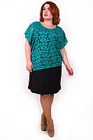 Модное платье-двойка батал Дейнерис бирюзовый (56-62)