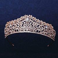 Корона, диадема для девочки, тиара под золото, высота 4,5 см.