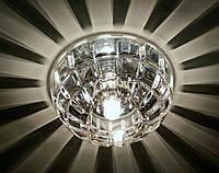 Встраиваемый декоративный точечный светильник с кристаллом K9 Feron JD87 прозрачный хром