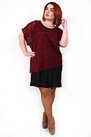 Нарядное платье-двойка батал Дейнерис бордо (56-62)