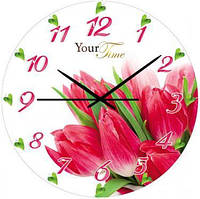 "Часы настенные ""Малиновые Тюльпаны"" Ø28см стеклянные"