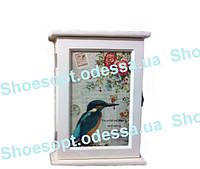 Ключница настенная Птичка деревянная Прованс, фото 1