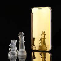 Золотистый зеркальный чехол-книжка премиум класса для Samsung Galaxy A7 (2017) / A720