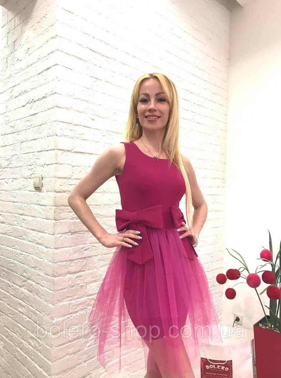 Брендовое женское платье малиновое короткое  Италия