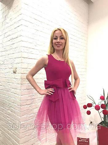 Брендовое женское платье малиновое короткое  Италия, фото 2