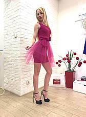 Брендовое женское платье малиновое короткое  Италия, фото 3