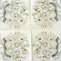 Салфетка декупажная 25x25 см 1 Белые розы